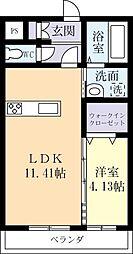 エーリおおつ野 1階1LDKの間取り