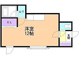 バス 函館バス赤川保育園前下車 徒歩2分の賃貸アパート 2階ワンルームの間取り