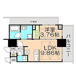 ノルデンタワー江坂プレミアム 12階1LDKの間取り