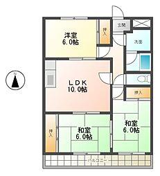 緑ヶ丘角新ビル[2階]の間取り