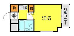 キューブ東塚口[202号室]の間取り