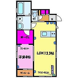 Mirai A棟[1階]の間取り