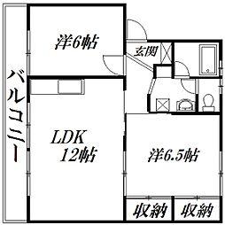 静岡県浜松市中区上島2丁目の賃貸マンションの間取り