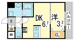 JR東海道・山陽本線 新長田駅 徒歩3分の賃貸マンション 3階1DKの間取り