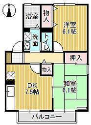 セジュール華(A棟、B棟)[B201号室]の間取り