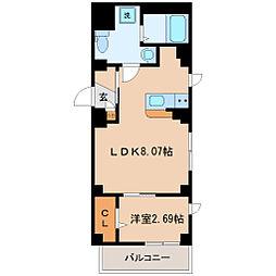仙台市営南北線 広瀬通駅 徒歩15分の賃貸マンション 1階1LDKの間取り