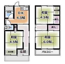 守口市金田町6丁目 一戸建て貸家 1階3DKの間取り