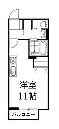 JR山陽本線 高島駅 徒歩22分の賃貸アパート 2階1Kの間取り