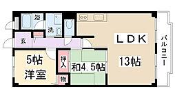 兵庫県伊丹市野間4丁目の賃貸マンションの間取り