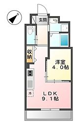 福岡県北九州市小倉南区北方1丁目の賃貸アパートの間取り