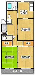 静岡県三島市南田町の賃貸マンションの間取り