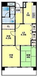 愛知県豊田市京ケ峰1丁目の賃貸マンションの間取り