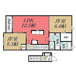 千葉県大網白里市みずほ台3の賃貸アパートの間取り