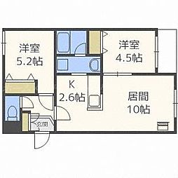 北海道札幌市東区北四十一条東2丁目の賃貸マンションの間取り
