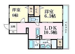 JR東海道・山陽本線 芦屋駅 徒歩10分の賃貸マンション 2階2LDKの間取り