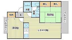 兵庫県姫路市飾磨区清水2丁目の賃貸アパートの間取り