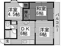千葉県松戸市新松戸南1の賃貸アパートの間取り