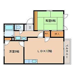 静岡県静岡市駿河区下川原1丁目の賃貸アパートの間取り