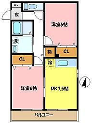 埼玉県さいたま市桜区西堀9丁目の賃貸アパートの間取り