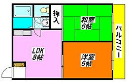 コンフォート・長田 203号室[2階]の間取り