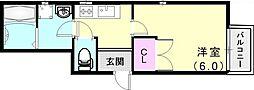 神戸高速東西線 西代駅 徒歩3分の賃貸アパート 1階1Kの間取り