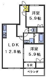 ドゥMKK[1階]の間取り