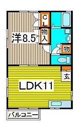ポアソンハイム[2階]の間取り
