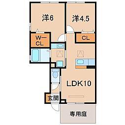和歌山県和歌山市楠本の賃貸アパートの間取り