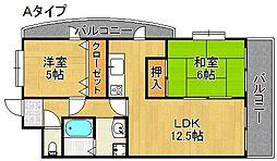 ペガサスII番館住之江[3階]の間取り