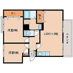 奈良県奈良市法華寺町の賃貸マンションの間取り