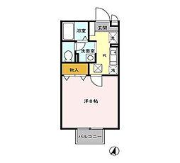 JR長崎本線 長与駅 徒歩12分の賃貸アパート 1階1Kの間取り
