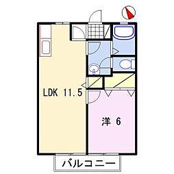 兵庫県姫路市青山北2の賃貸アパートの間取り