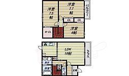 南海線 松ノ浜駅 徒歩10分の賃貸テラスハウス 1階3LDKの間取り