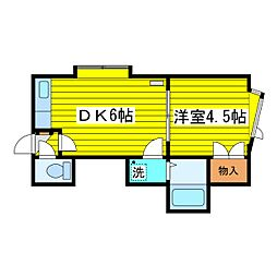 北海道札幌市東区北十九条東16丁目の賃貸アパートの間取り