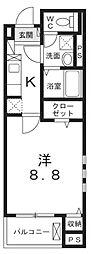 JR中央線 八王子駅 徒歩20分の賃貸マンション 2階1Kの間取り