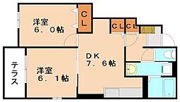 福岡県飯塚市川島の賃貸アパートの間取り