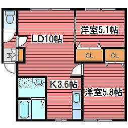 ボヌール福住III[2階]の間取り