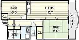 大阪府大阪市生野区巽東3丁目の賃貸マンションの間取り