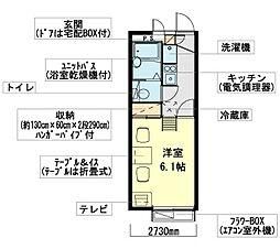 神奈川県横浜市磯子区滝頭1丁目の賃貸アパートの間取り