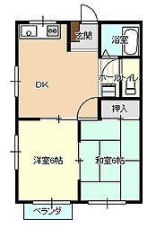 島根県松江市東津田町の賃貸アパートの間取り