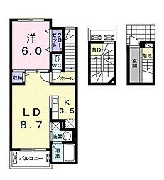 JR高徳線 勝瑞駅 3.1kmの賃貸アパート 3階1LDKの間取り