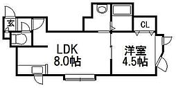 KAZU菊水[102号室]の間取り