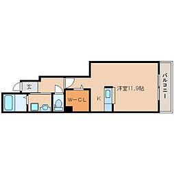 近鉄天理線 天理駅 徒歩12分の賃貸アパート 1階ワンルームの間取り