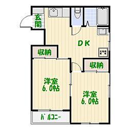 メリーマンション[0202号室]の間取り