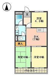 愛知県日進市梅森台2丁目の賃貸マンションの間取り