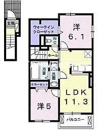 JR山陽本線 瀬戸駅 徒歩32分の賃貸アパート 2階2LDKの間取り