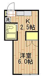 東京都日野市日野台1丁目の賃貸アパートの間取り