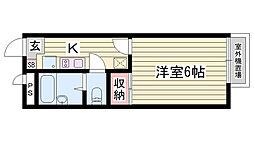山陽電鉄本線 西新町駅 徒歩26分の賃貸アパート 2階1Kの間取り