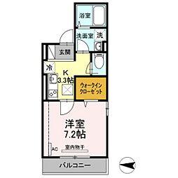 仮)D-room新川崎 1階1Kの間取り