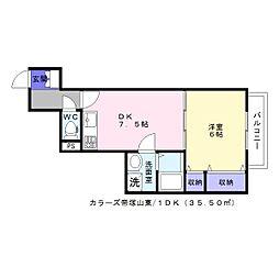 カラーズ帝塚山東[3階]の間取り